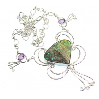 Beautiful Green Ammolite Sterling Silver necklace