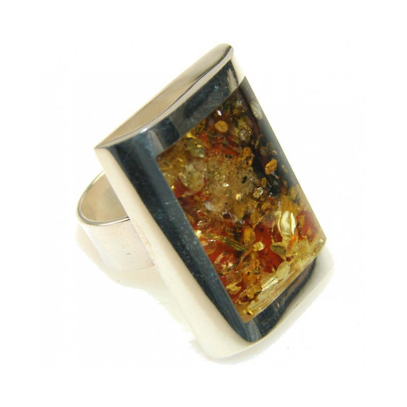 Secret Polish Amber Sterling Silver Ring s. 8 - Adjustable