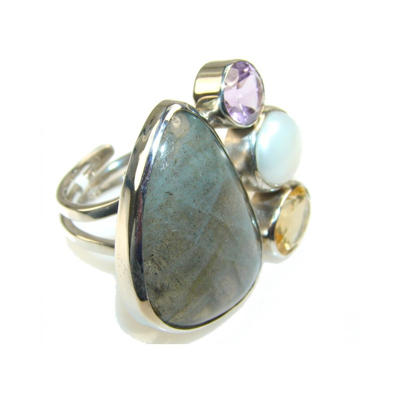 Gentle Blue Labradorite Sterling Silver Ring s. 8 - Adjustable
