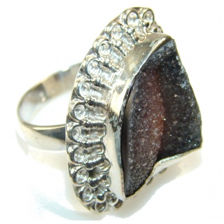 Unusal Style Of Titanium Druzy Sterling Silver Ring s. 8 3/4