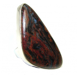 Stylish Golden Pietersite Sterling Silver Ring s. 7 1/4