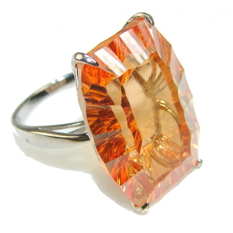 Gorgeous Golden Topaz Sterling Silver Ring s. 8 1/2