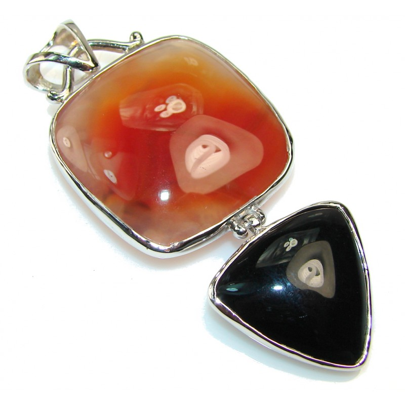 Big!! Beautiful Design Of Agate Sterling Silver Pendant