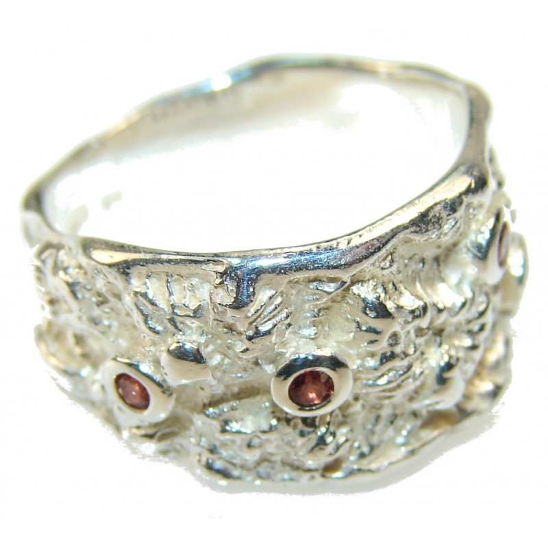 Inspire Italy Made Garnet Sterling Silver Ring s. 6 1/2