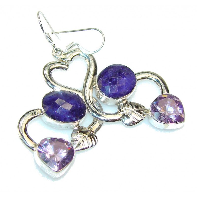 Natural Beauty!! Sapphire Sterling Silver earrings