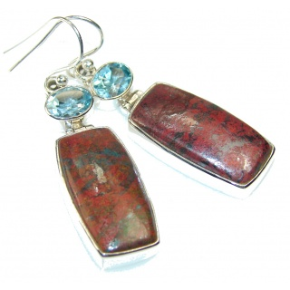 Movment Red Sonora Jasper Sterling Silver earrings