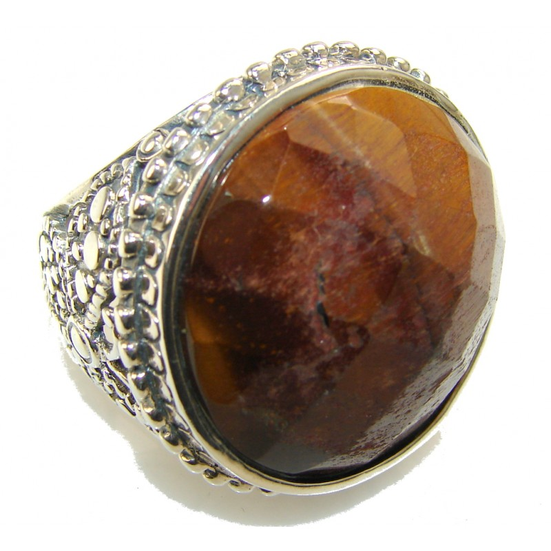 Inspire Brown Tigers Eye Sterling Silver Ring s. 9