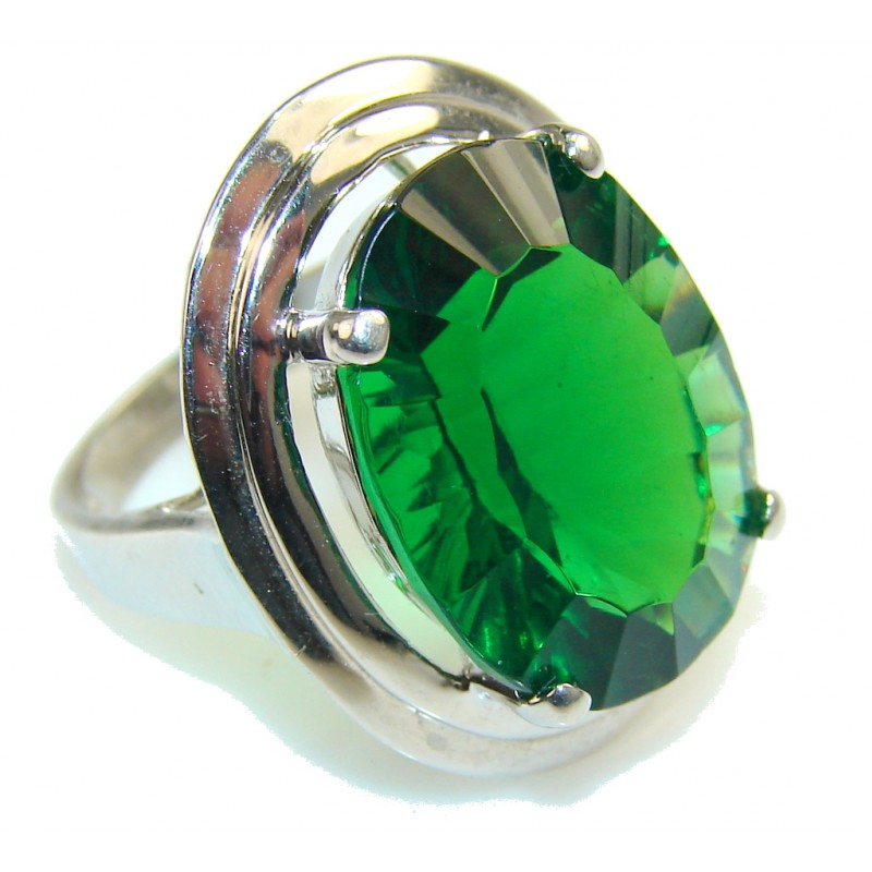 Charm Of Lime!! Green Helenite Sterling Silver ring s. 6