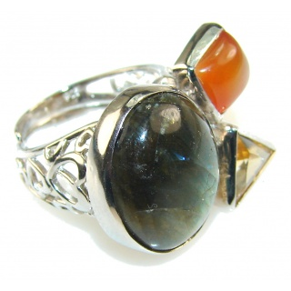 Natural Beauty!! Labradorite Sterling Silver Ring s. 6 - Adjustable