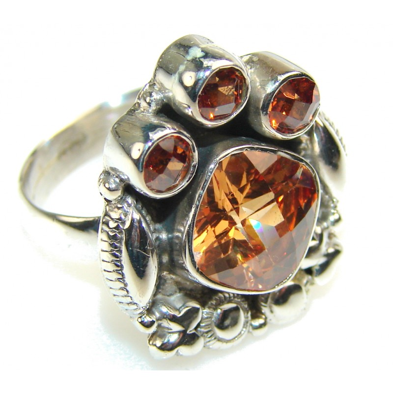 Fabulous Golden Quartz Sterling Silver Ring s. 8