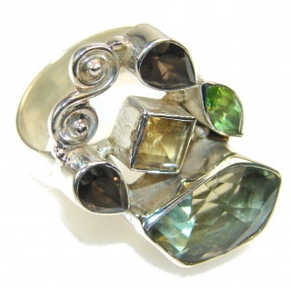 Amazing Multigem Sterling Silver Ring s. 8