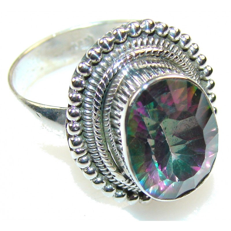 Illusion Floral!! Magic Topaz Sterling Silver ring; s. 9 1/2