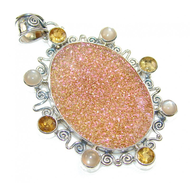 Excellent Design Of Pink Druzy Sterling Silver Pendant