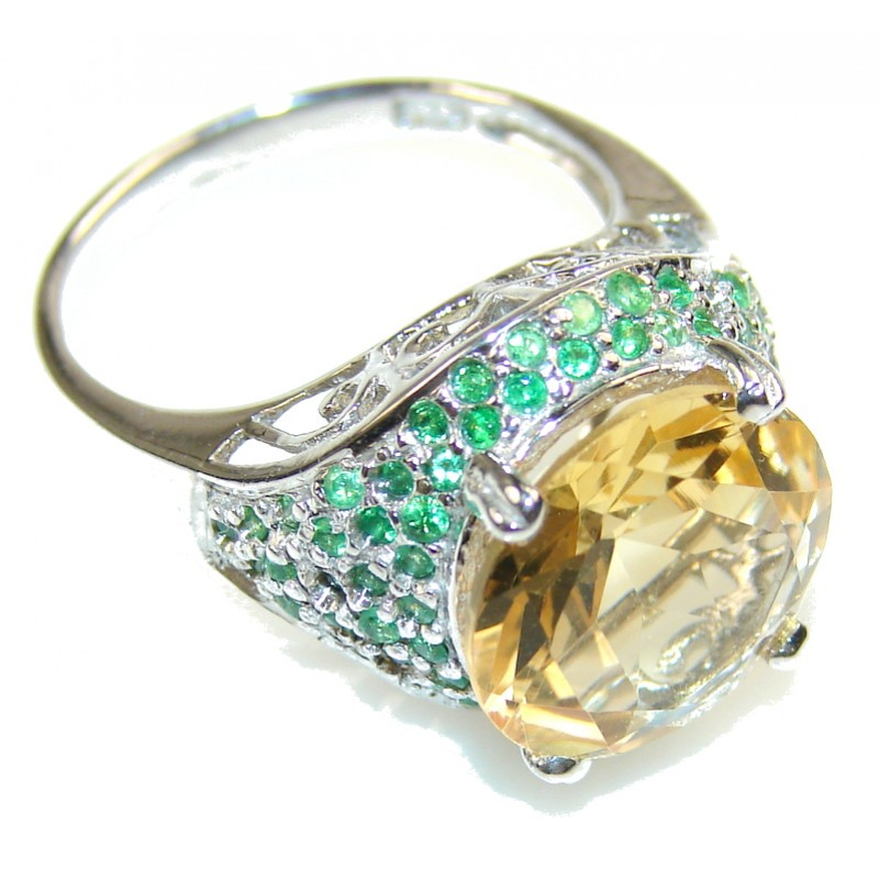 Fabulous Yellow Citrine Sterling Silver Ring s. 7 3/4
