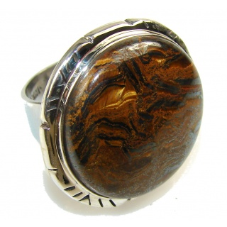Amazing Golden Tigers Eye Sterling Silver Ring s. 7 1/4