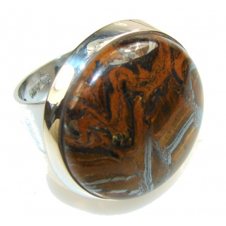 Precious Golden Tigers Eye Sterling Silver Ring s. 8