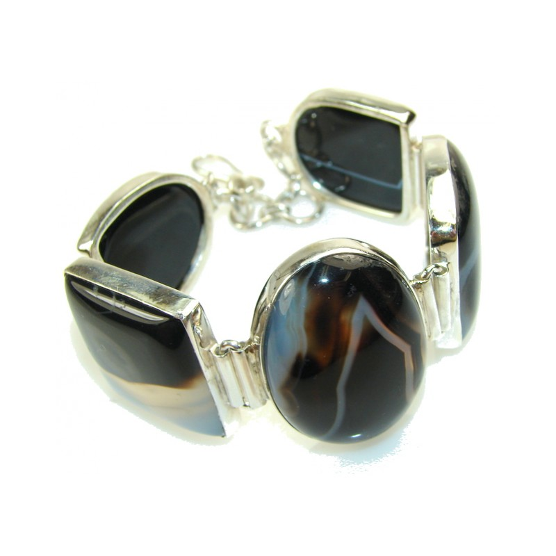 Awesome Design Of Black Agate Sterling Silver Bracelet