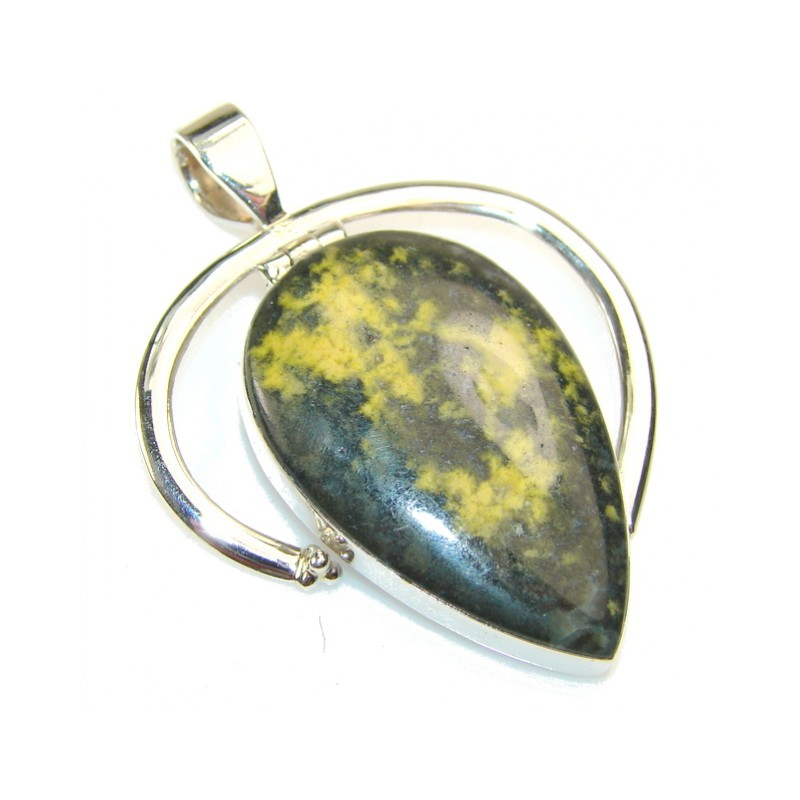 Fantastic Yellow Bumble Bee Jasper Sterling Silver Pendant