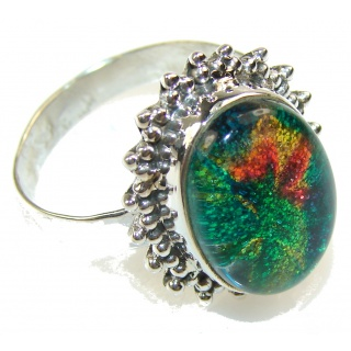 Natural Dichroic Glass Sterling Silver ring s. 11 3/4