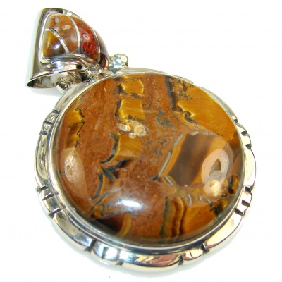 Stylish Golden Tigers Eye Sterling Silver Pendant