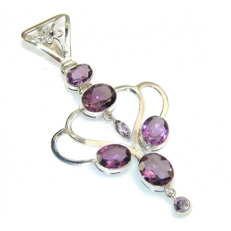 Excellent Purple Amethyst Sterling Silver Pendant