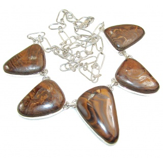 Excellent Iron Tigers Eye Sterling Silver necklace