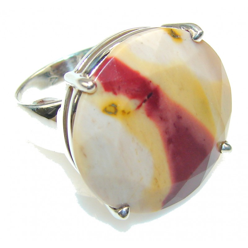 Perfect Australian Mookaite Sterling Silver Ring s. 7