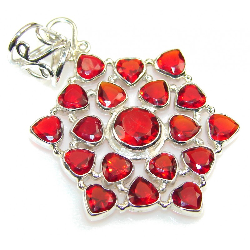 Passion!! Red Quartz Sterling Silver Pendant