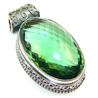Lime Treasure!! Green Quartz Sterling Silver Pendant