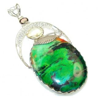 Queen Of Nature!! Sea Sediment Jasper Sterling Silver Pendant