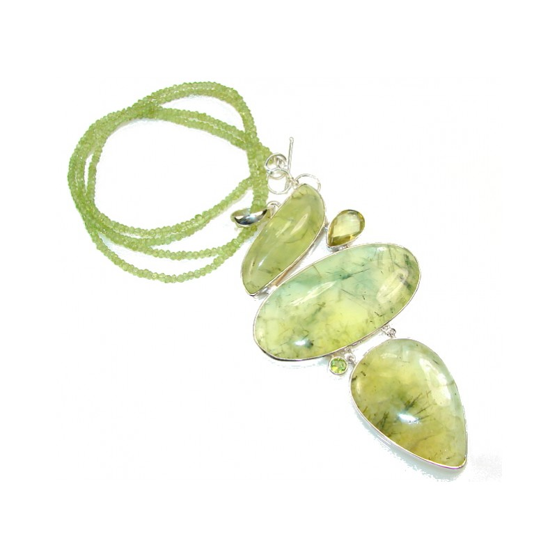 Huge!! World Of Beauty!! Moss Prehnite Sterling Silver necklace