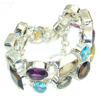 Excellent Design!! Multicolor Quartz Sterling Silver Bracelet