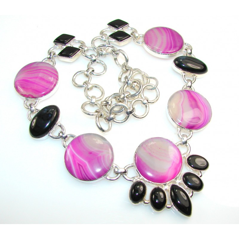 Aura Of Beauty!! Botswana Agate Silver Tone necklace