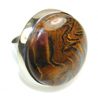 Precious Golden Tigers Eye Sterling Silver Ring s. 5 1/2