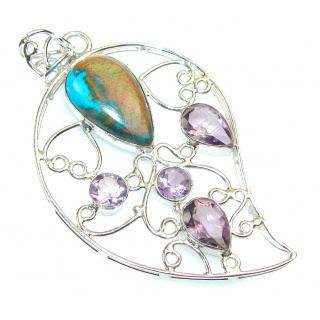 Excellent Rainbow Peruvian Opal Sterling Silver Pendant