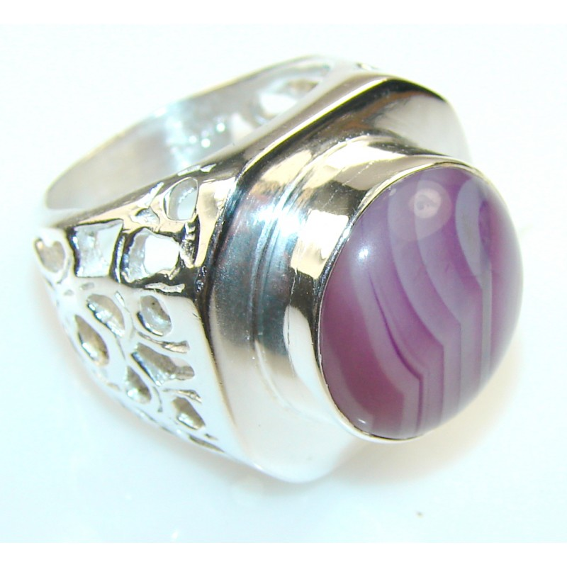 Awesome Color Of Botswana Agate Silver Tone ring s. 8