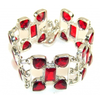 Friendship Red Quartz Sterling Silver Bracelet
