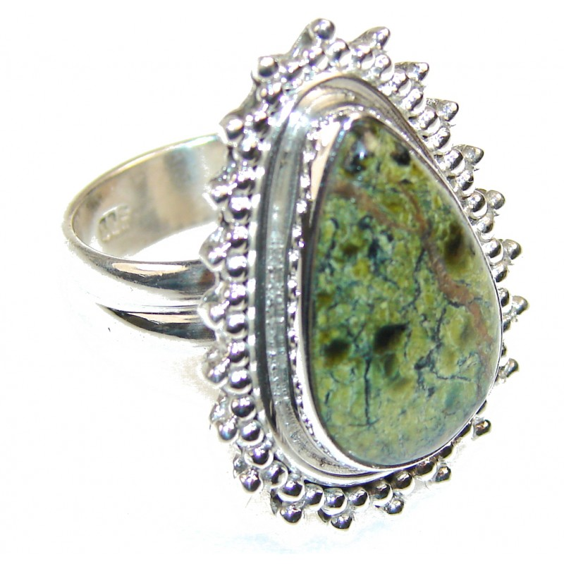Excellent Rainforest Jasper Sterling Silver Ring s. 9