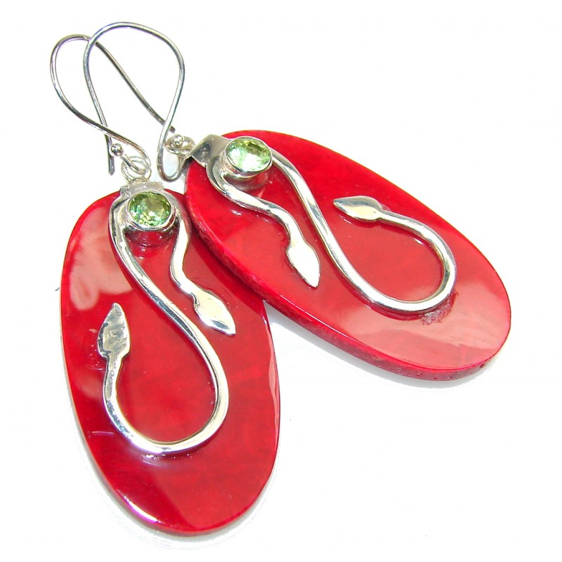 Lovely Red Fossilized Coral Sterling Silver earrings