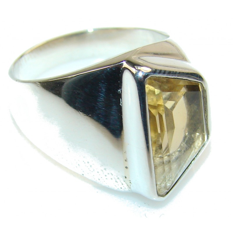 Natural Yellow Citrine Sterling Silver Ring s. 8 1/4