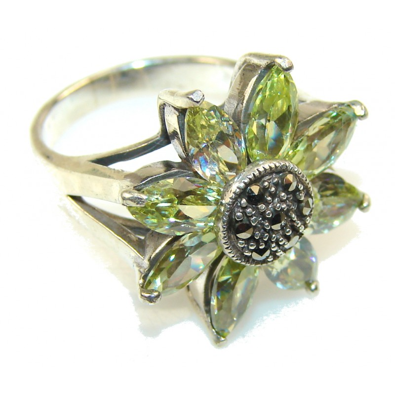 Tropical Design Marcasite Sterling Silver ring s. 6