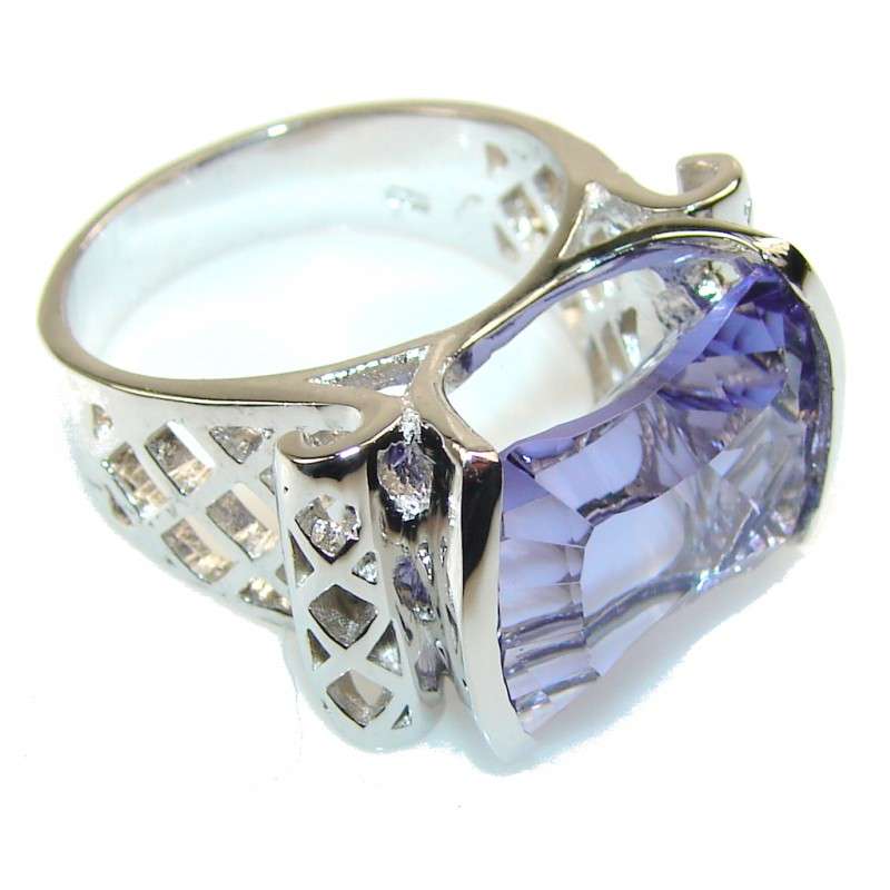 Liliac Kiss Purple Helenite Sterling Silver ring s. 9