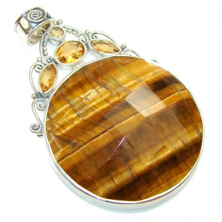 Amazing Tigers Eye Sterling Silver Pendant