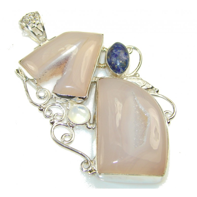 Delicate Color Of Agate Druzy Sterling Silver Pendant