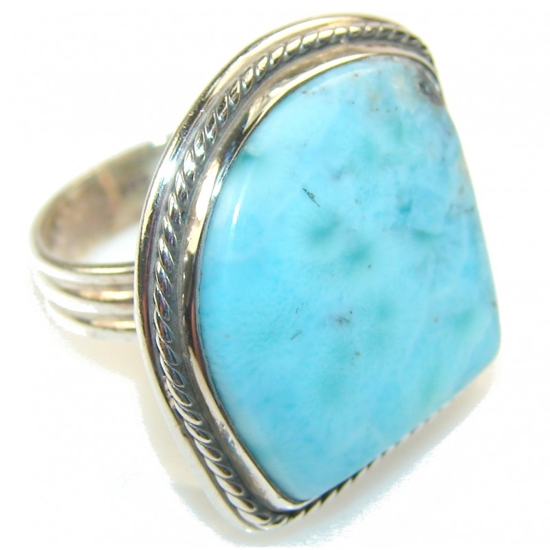 Natural Blue Larimar Sterling Silver Ring s. 8