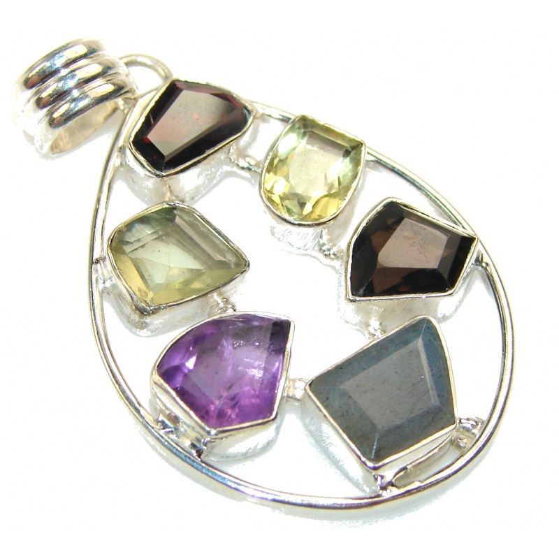 Aura Of Beauty!! Multigem Sterling Silver Pendant