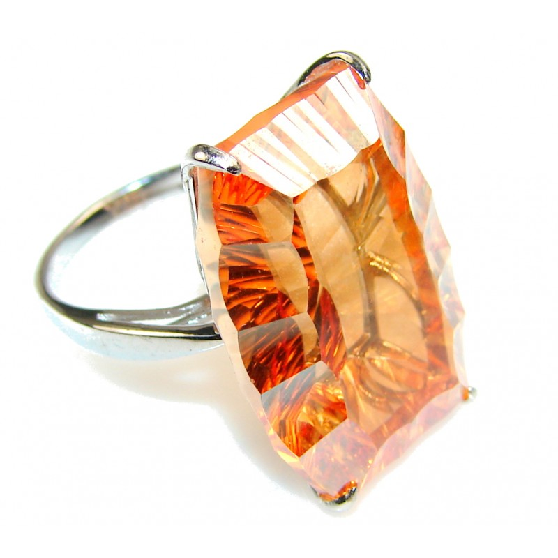 Awesome Golden Topaz Sterling Silver Ring s. 7 1/2