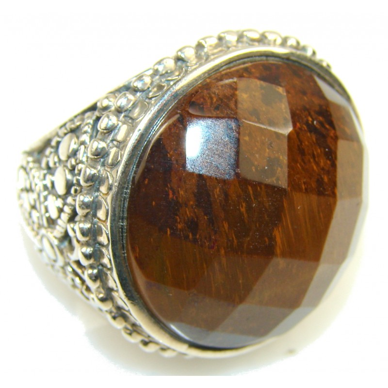 Big!! Stylish Tigers Eye Sterling Silver Ring s. 9 1/4