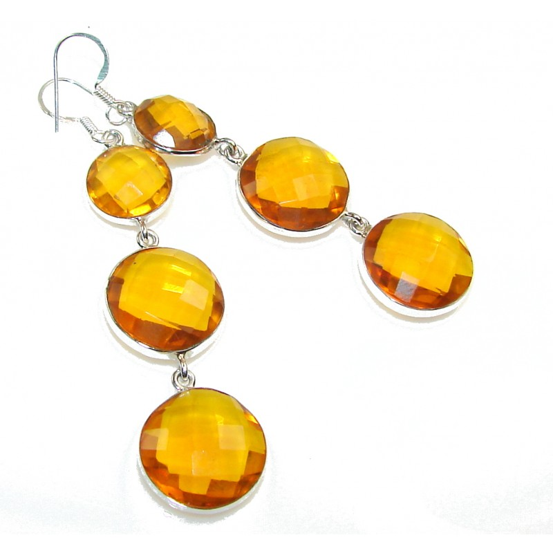 SunShine Citrine Quartz Sterling Silver Earrings