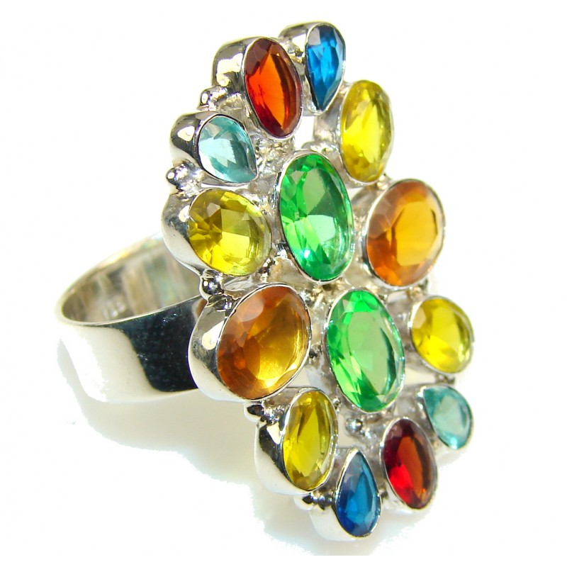 Exotic Multicolor Quartz Sterling Silver Ring s. 10
